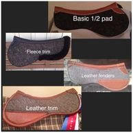 Design your custom half pad. Choosing options that create your unique wool felt pad.