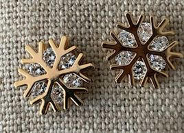Dazzlers - Sparkly Gold Stud. Cubic Zirconia. Nickel Free. Gold toned Snowflake.