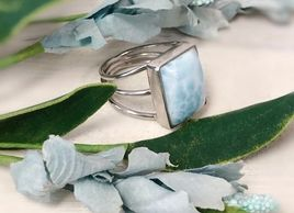 Larimar Ring in Sterling Silver Setting.