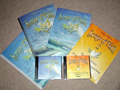 Songs of Faith large-print hymnbooks and sing-along CDs for seniors. Lower keys. Guitar chords.