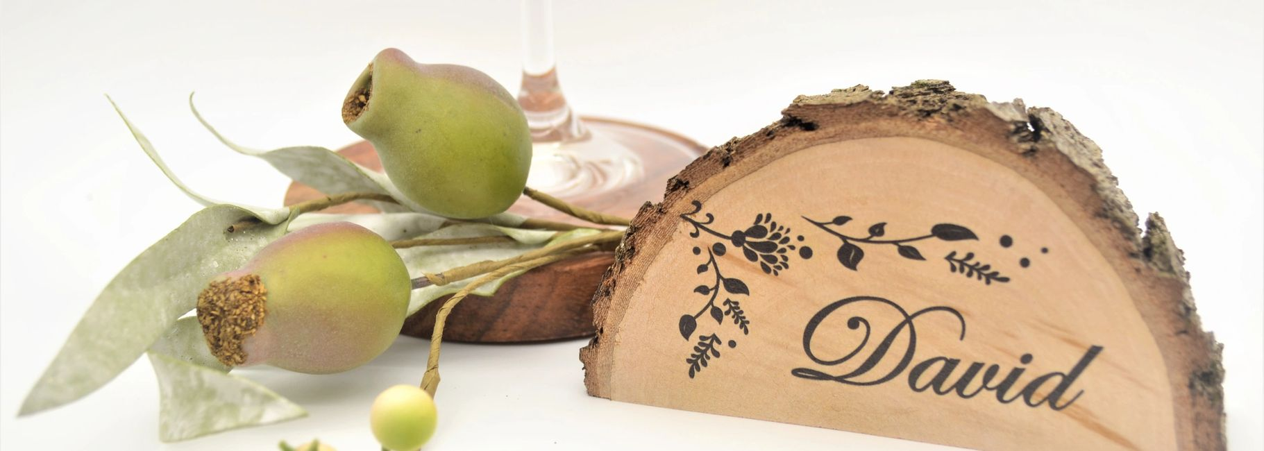 Personalised wood round wedding place cards