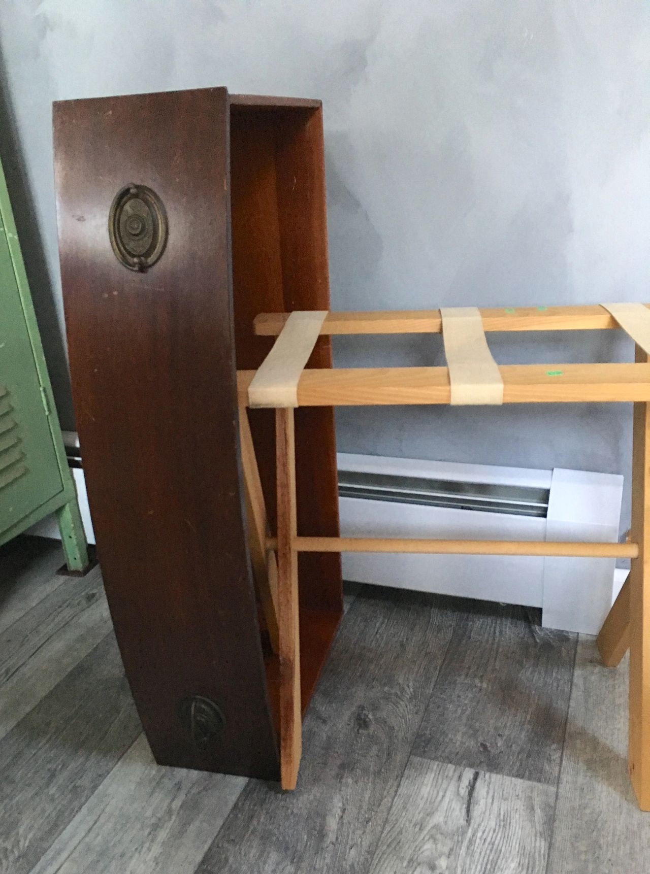 raw materials of an old drawer and luggage rack