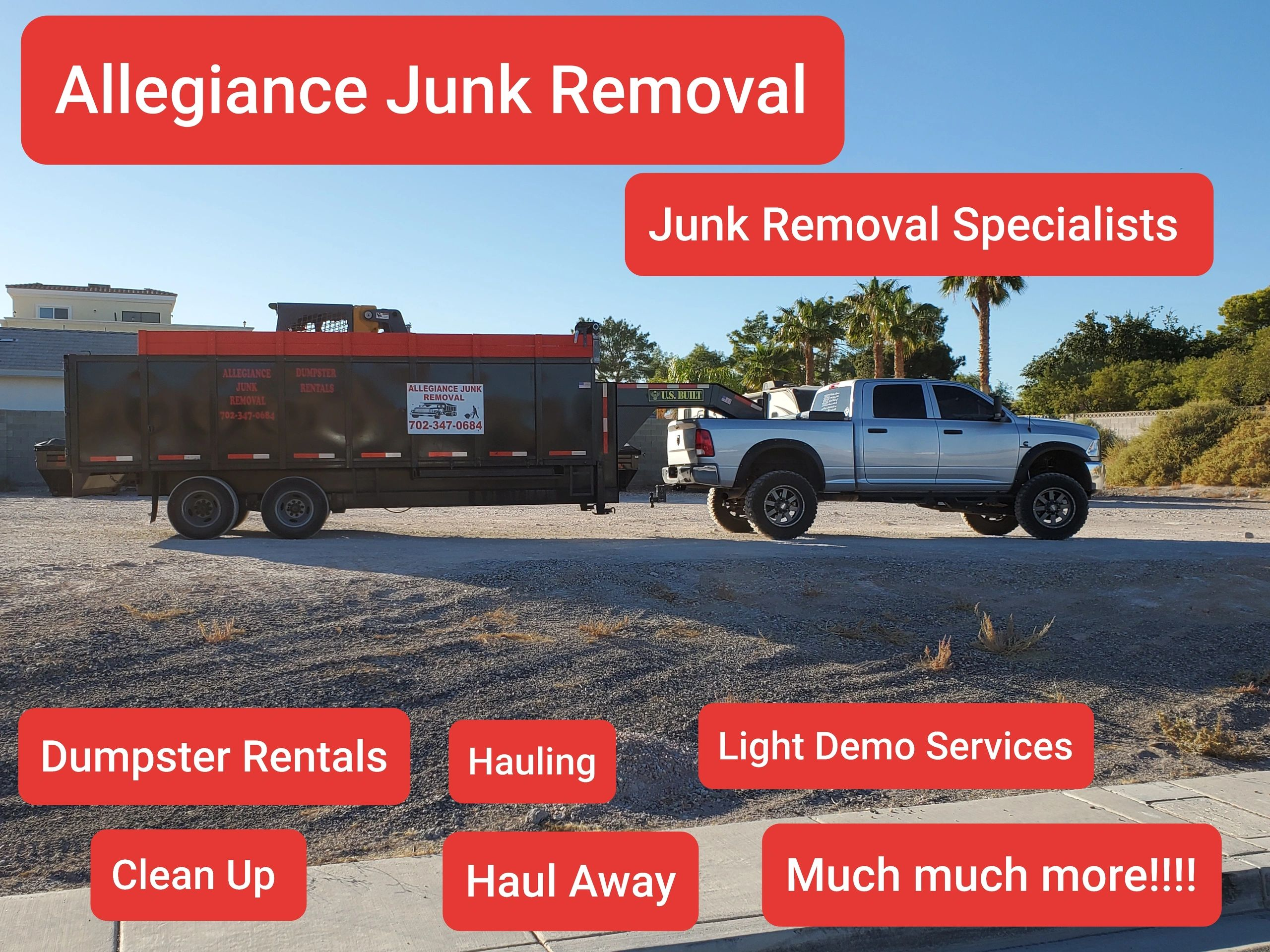 Dumpster Rentals, Junk Removal, Hauling, Trash, Clean Up Service, Las Vegas, Henderson, Vegas Valley