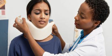 whiplash injury from car accident. sprain strain injury, and muscle injury. cervical collar.