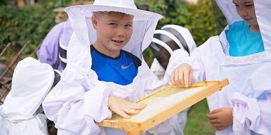 Learn about the bees, put on a beesuit, see the bees in an observation hive and then make a candle.