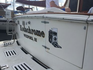 Vinyl graphics for boats. Boat lettering. Massachusetts, Rhode Island, Maine, New Hampshire.