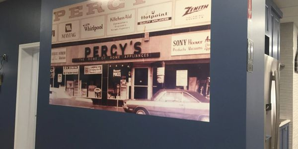 Wall mural applied directly to wall of appliance store in Worcester, MA.