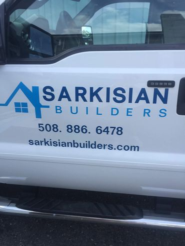 Truck lettering with vinyl graphics. Sarkisian Builders, Holden, MA
