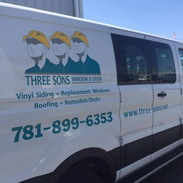 Vinyl graphics applied to van. Truck lettering. Three Sons, Waltham, MA