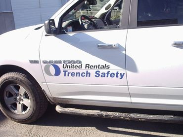 Truck Lettering with vinyl graphics. United Rentals, Worcester, MA