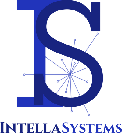 IntellaSystems Logo - an interlocked capital letter I and letter S, with an abstract burst.