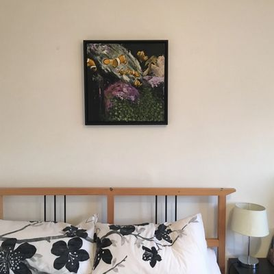 Clownfish painting in a bedroom.