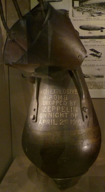 Unexploded 300kg bomb dropped on Edinburgh in April 1916 by a Zeppelin, now in a museum.