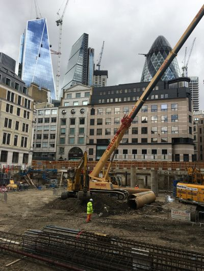 Piling operations on a City of London construction site