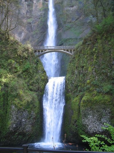 Multnomah Falls is a waterfall located on Multnomah Creek in the Columbia River Gorge, east of Trout