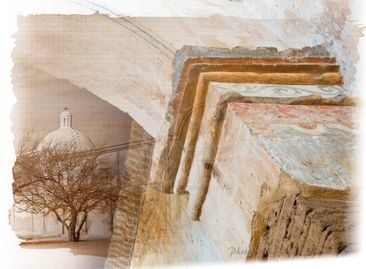 Tumacacori Mission National Historical Park. Collage of arch to altar and exterior of dome.