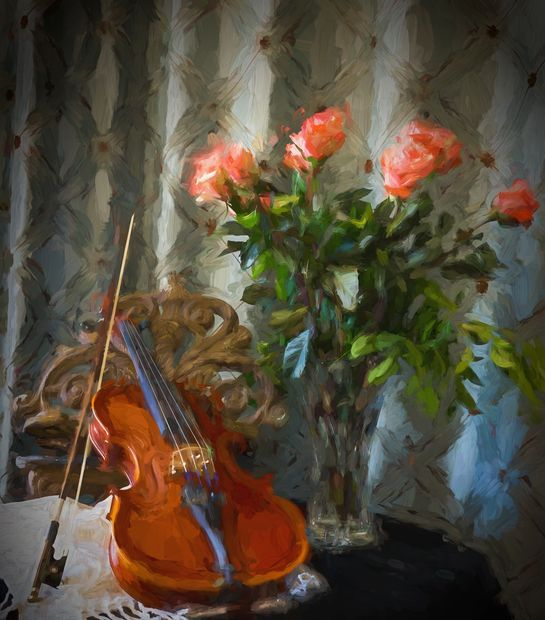 "Photo of violin and bow resting on music stand with impressionist feeling from ""paint"" program."