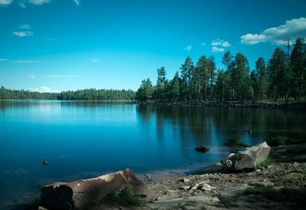 Willow Lake Mogollon Rim Arizona  Blue Lake and blue sky with pine trees and rocks in the foreground