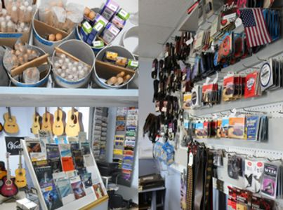 Guitars, drum sticks, music books, strings, cables, banjo straps, capos and music accessories.