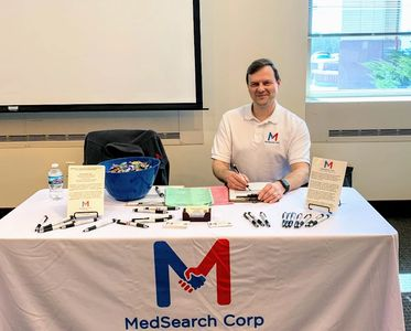 Allen at a healthcare job fair.