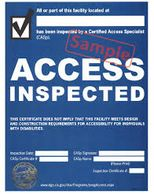 Sample Disabled Access Inspection Certificate, a part of our remediation support