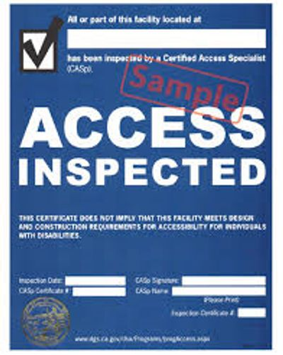 Am I ADA Compliant? Disabled Access Inspection Certificate