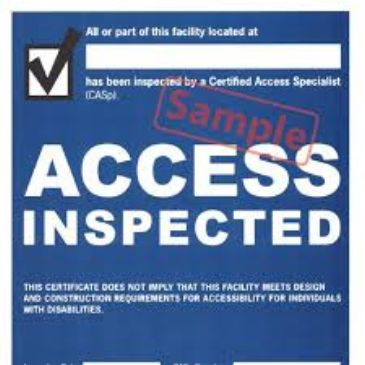 Sample Disabled Access inspection  Certificate. Why hire a CASp?