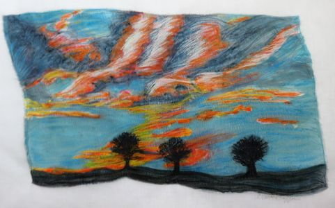 Sunset pained silk, dye pencils and machine stitching