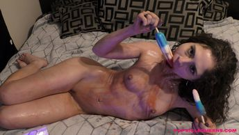 Tiffany Drake - Popsicle Queens - looking sexy laying on bed nude ducking on popsicle