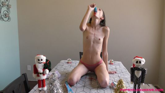 Aria Haze - Popsicle Queens Head titled back topless in pink panties deepthroating large popsicle!