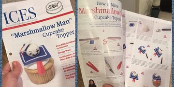 "Front page ""Marshmallow Man Cupcake topper"" ICES Magazine."