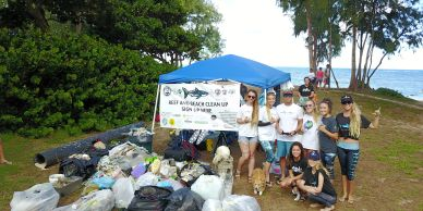 A reef and beach clean up sponsored by One Ocean Diving on the east side of Oahu.