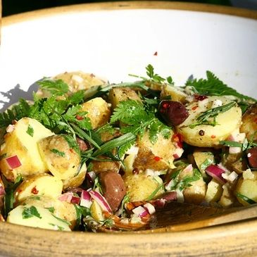 Tasty and fast potato salad recipe along with other easy recipes.