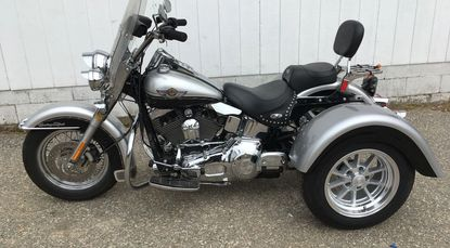 Recently completed 2003 Heritage Softail with a Frankenstein Trike kit
