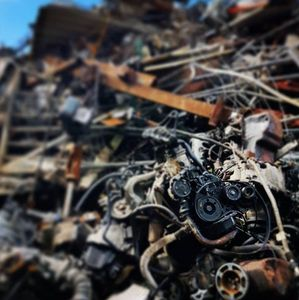 scrap metal engines girders scrap yard north wales recycling farm machinery factory clearance
