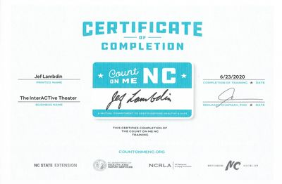 Certificate of Completion, Count on Me NC.