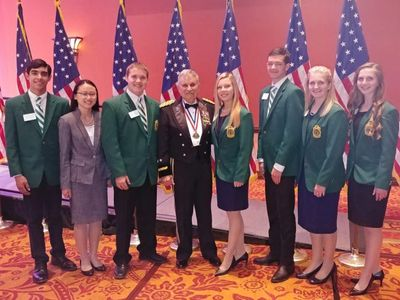 Oklahoma 4-H Club Ambassadors attending an Oklahoma Military Hall of Fame Banquet in Norman