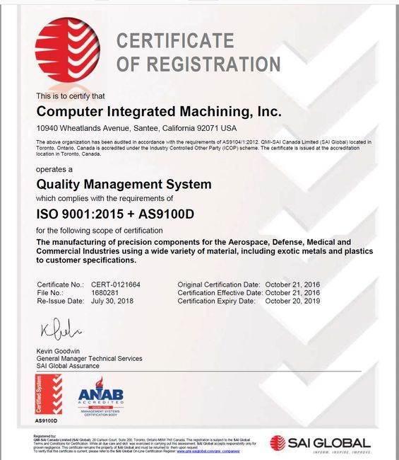 ISO 9001:2015  AS9100D Certificate