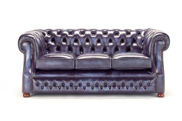 Copthorne, chesterfield, sofa, vintage antique blue, leather by roche designs limited