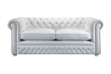 Blenheim white leather chesterfield sofa with matching white leather chesterfield chair