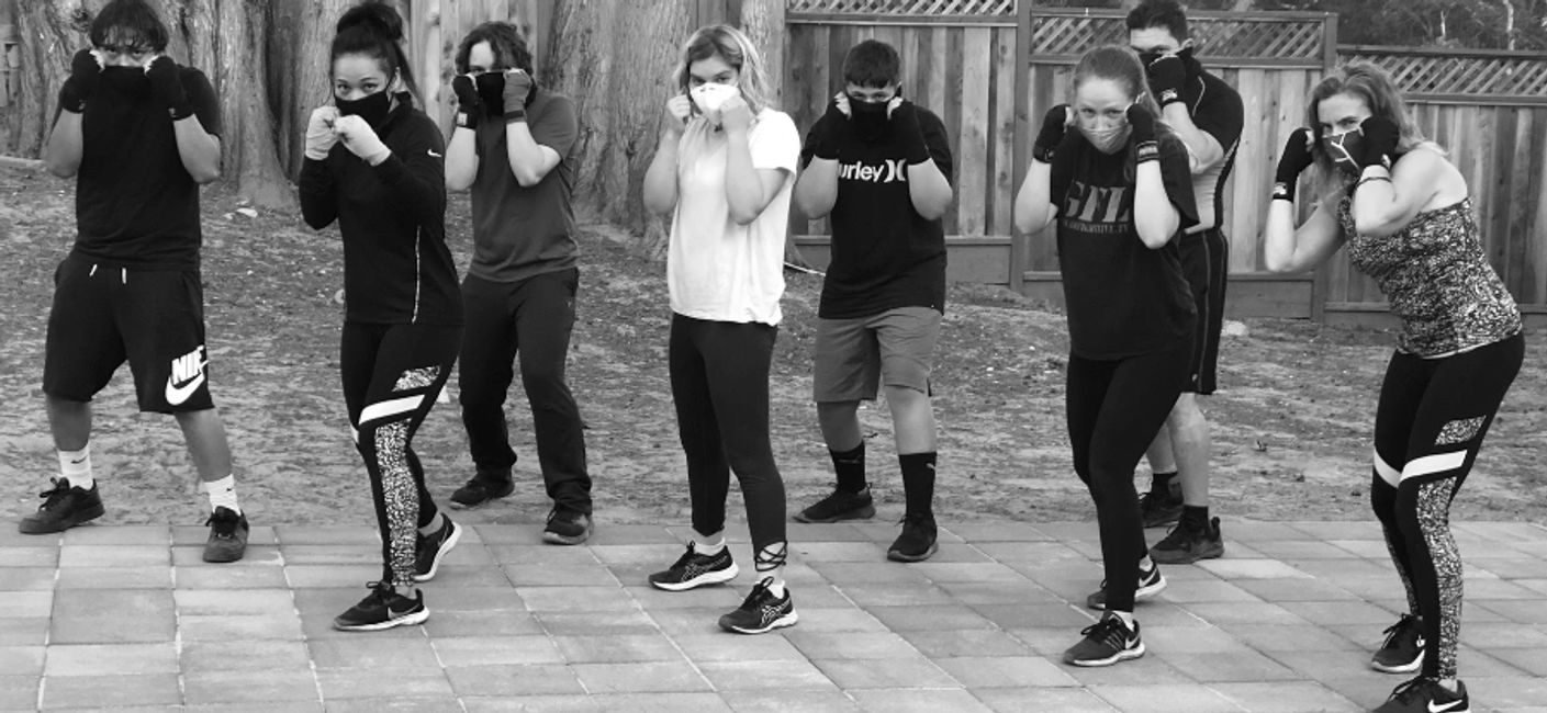 Boxing class outdoors