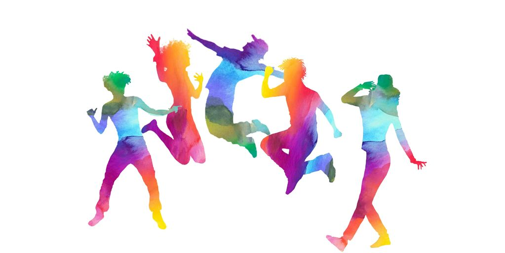 Colourful happy young people jumping.