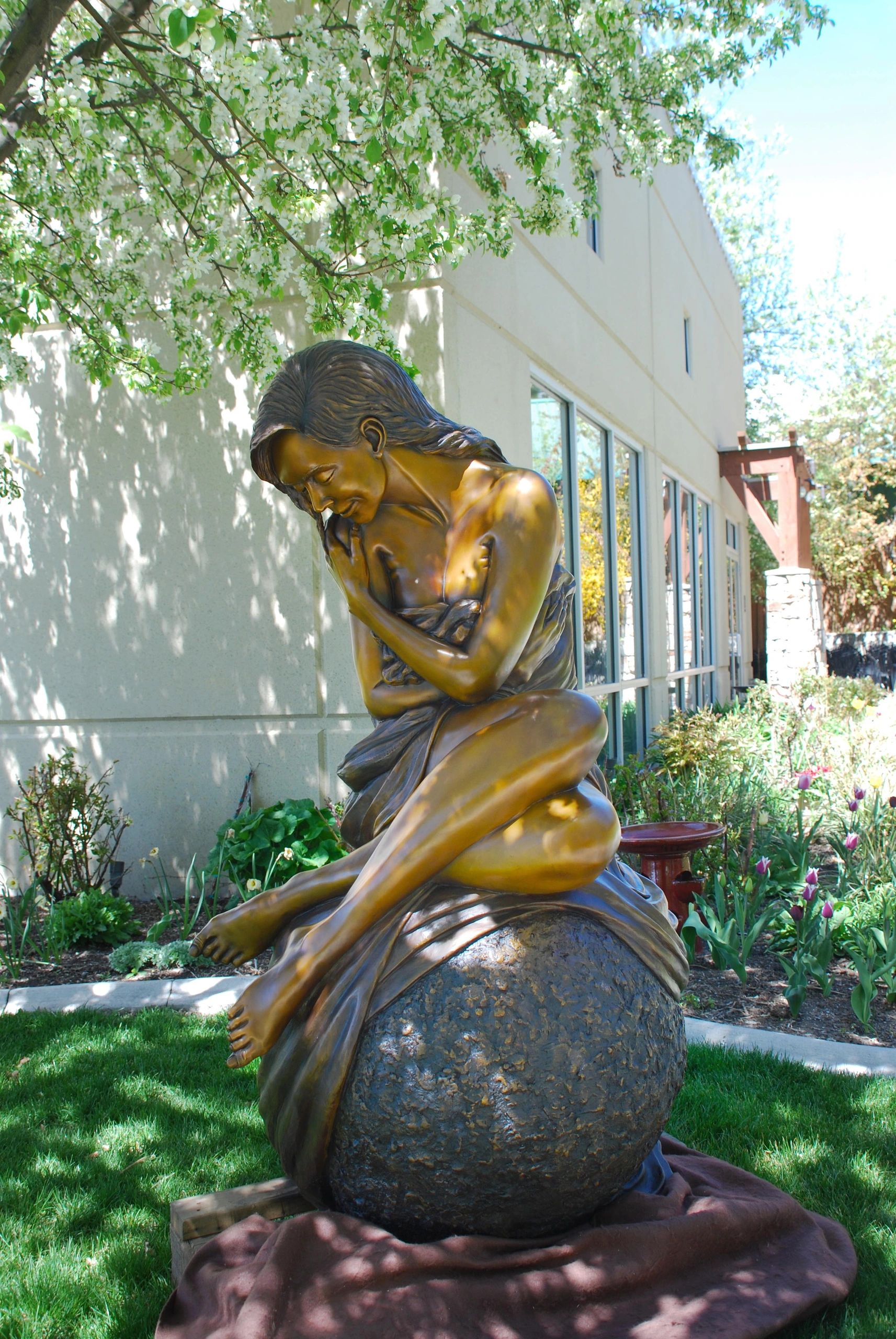 Photo of Solitaire a Life  size figurative , female form bronze sculpture