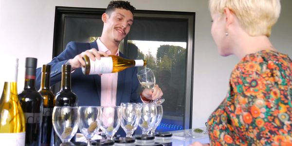 Andrew Freedman the cannabis sommelier serves wine and weed to alice of that high couple.