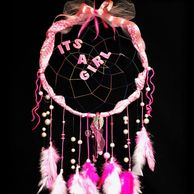 """It's a Girl"" pink  dreamcatcher perfect for baby showers, hospital door & nursery."