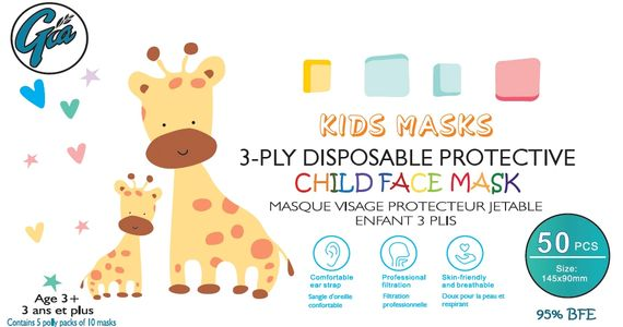 KIDS 3-PLY DISPOSABLE FACE MASKS