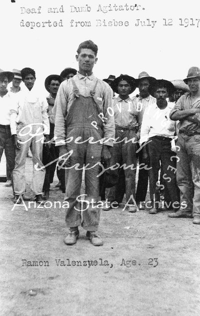 "Photograph of Ramon Valenzuela, identified as """"deaf and dumb"""", Bisbee labor strike 1917."