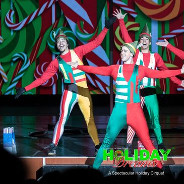 Cirque acrobats for Holiday Dreams, a holiday cirque show