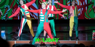 Elves performing in Holiday Dreams. A holiday cirque show.
