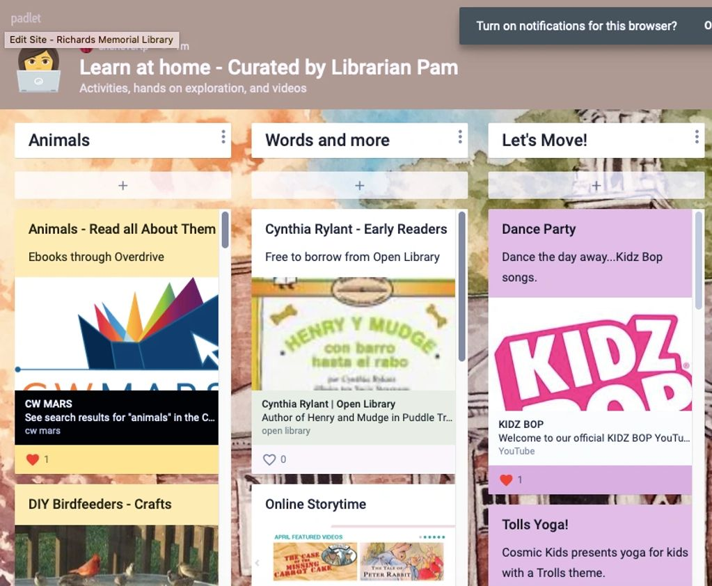 Librarian Pam's curated Padlet